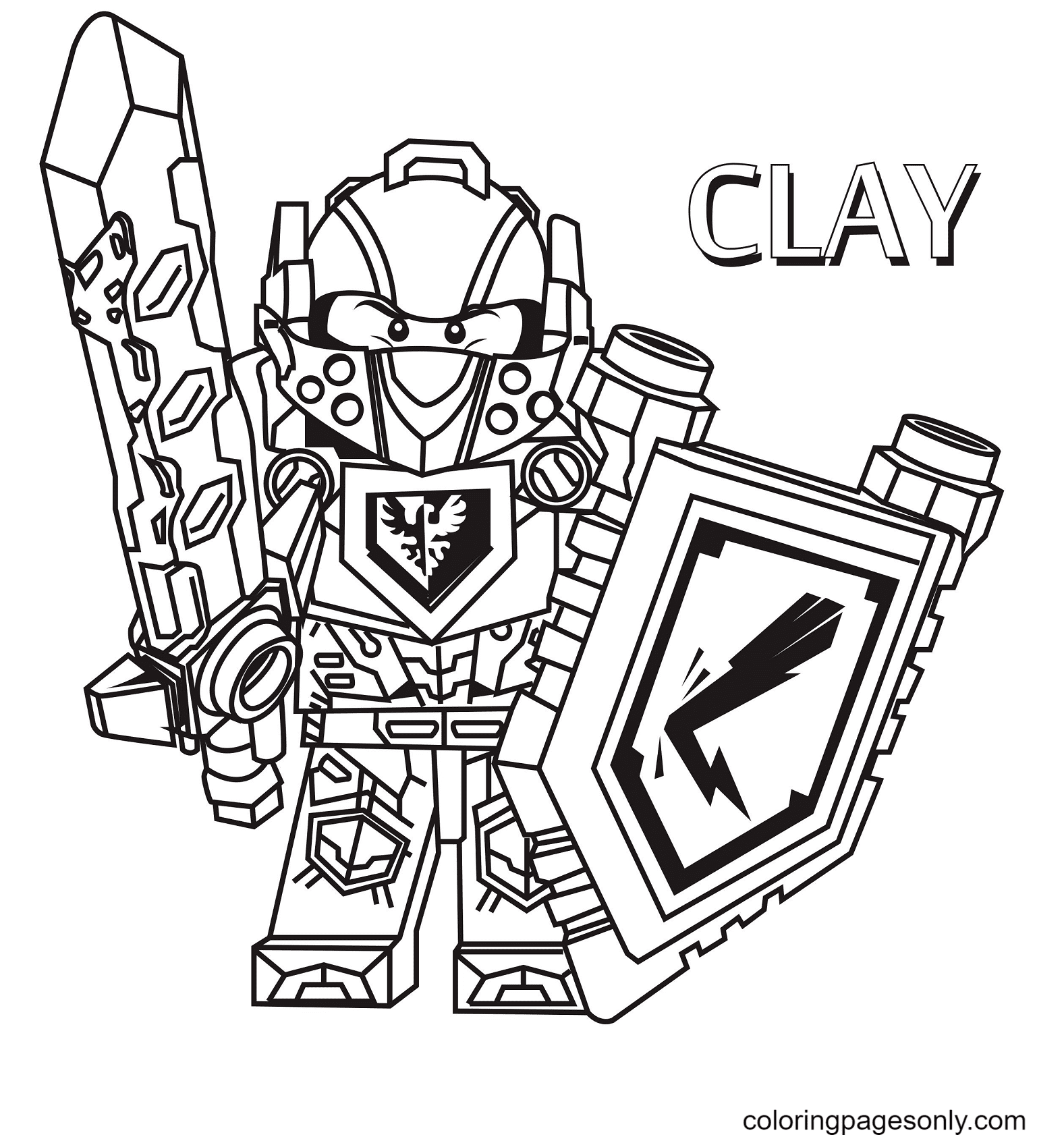 Clay Lego Nexo Knight Coloring Page