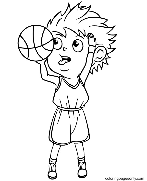 Confused While Throwing Basketball Coloring Page