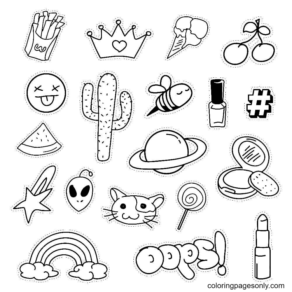 Cool Stickers Coloring Page