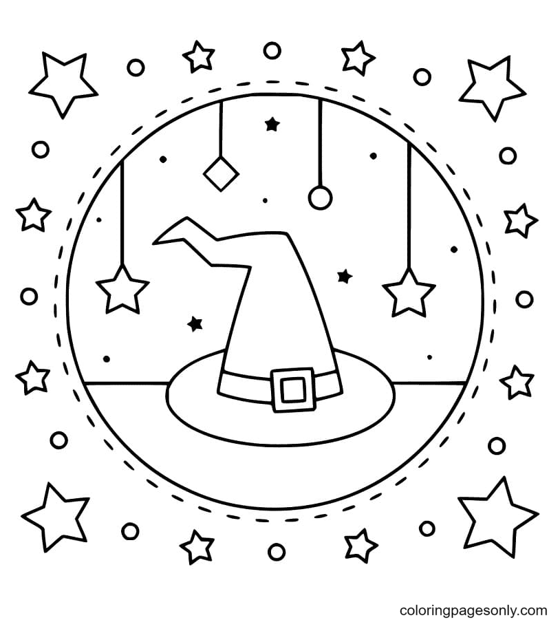 Cool Witch Hat Coloring Page