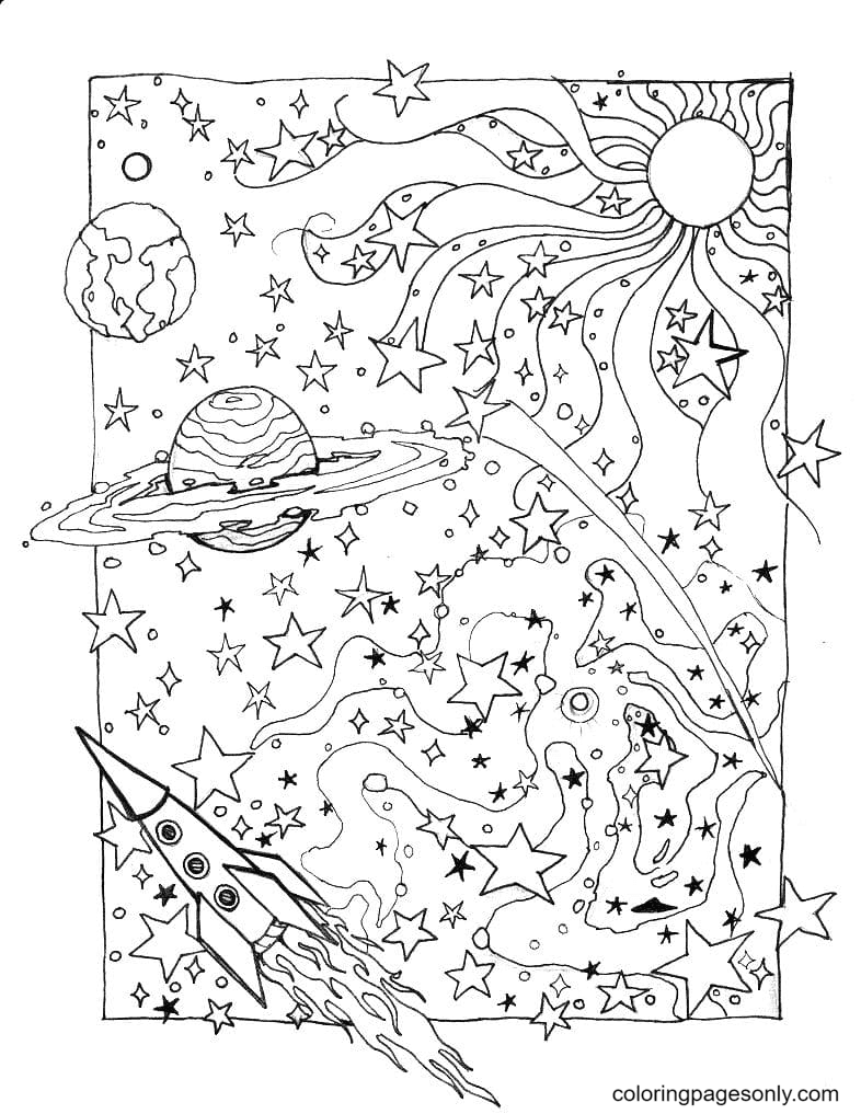 Cosmos Aesthetics Printable Coloring Page
