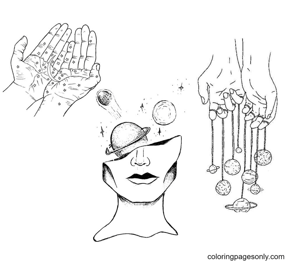Cosmos Aesthetics Coloring Page