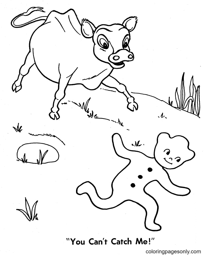 Cow and Gingerbread Man Coloring Page