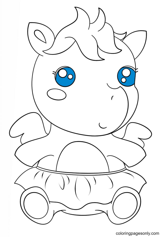 Cute Baby Pagasus Kawaii Coloring Page