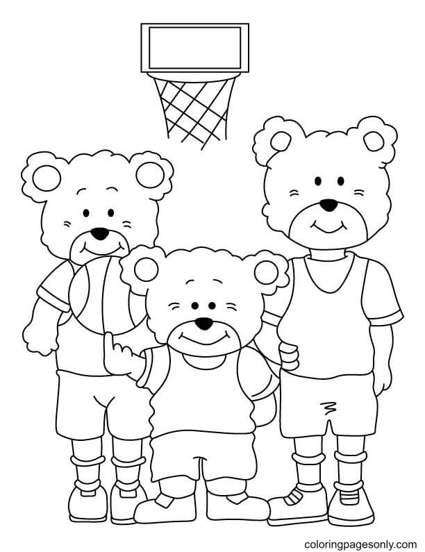 Cute Bears Playing Basketball Coloring Page