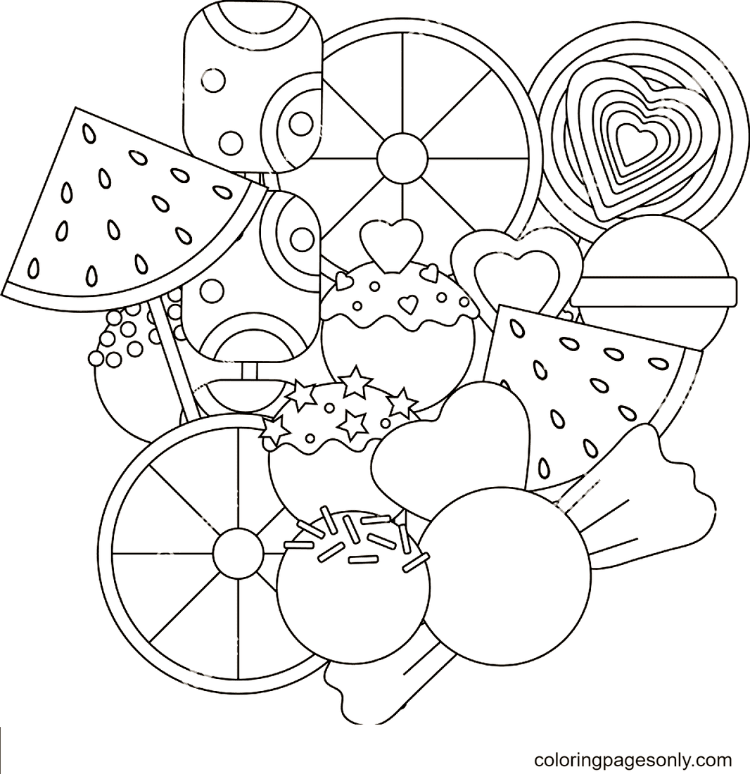 Cute Candies Sweet Coloring Page