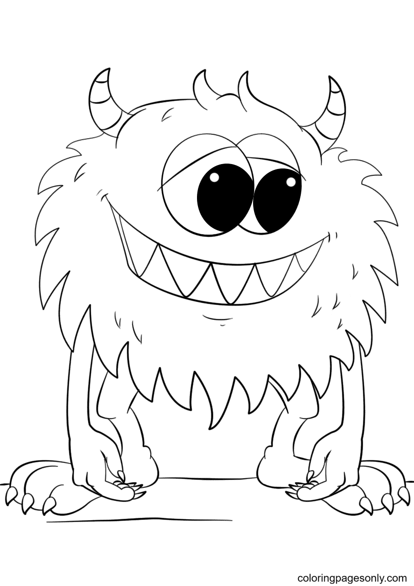 Cute Cartoon Monster Coloring Page
