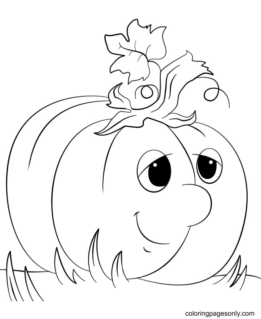 Cute Cartoon Pumpkin Coloring Page