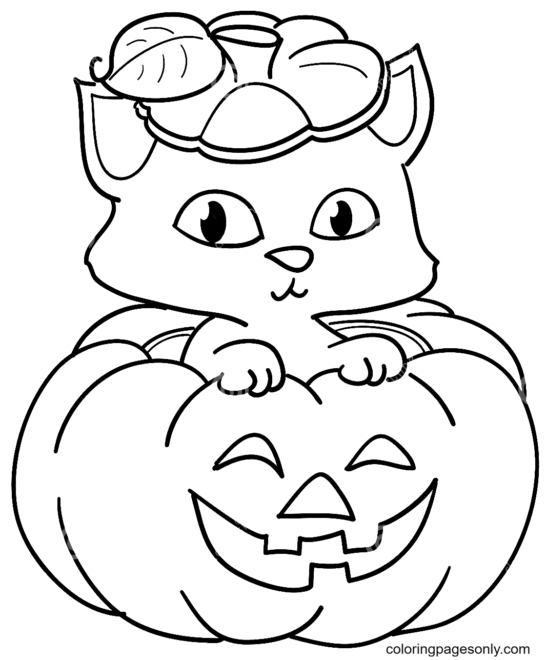 Cute Cat and Pumpkin Coloring Page