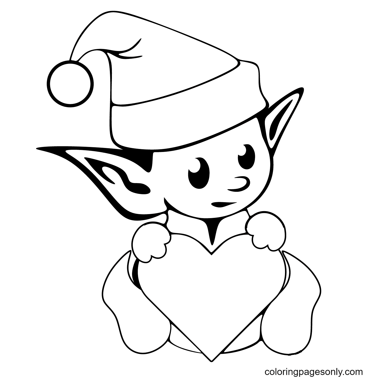Cute Christmas Elf Coloring Page