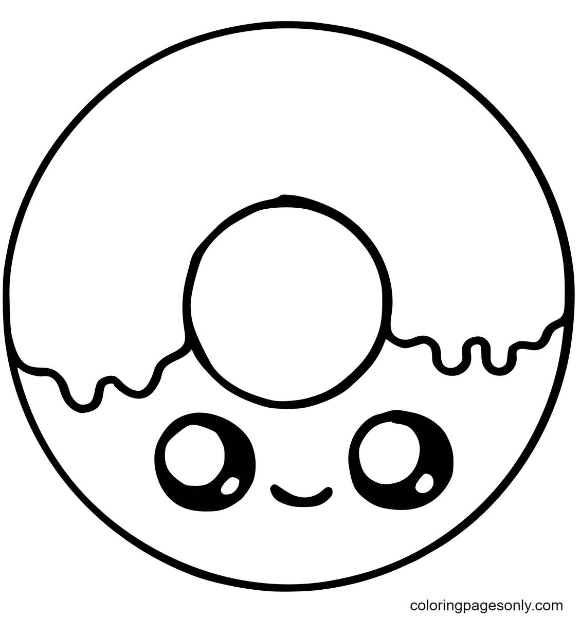 Cute Donut with Sugar Kawaii Coloring Page