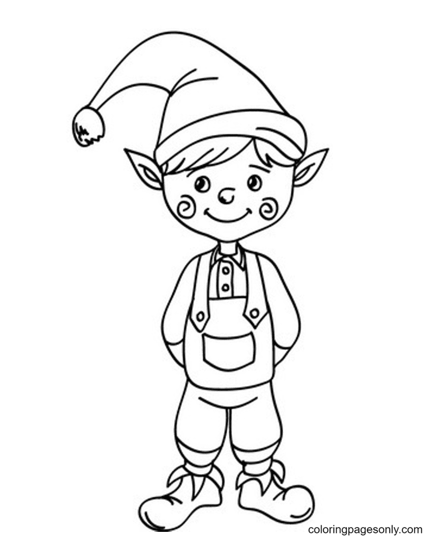 Cute Elf Smiling Coloring Page