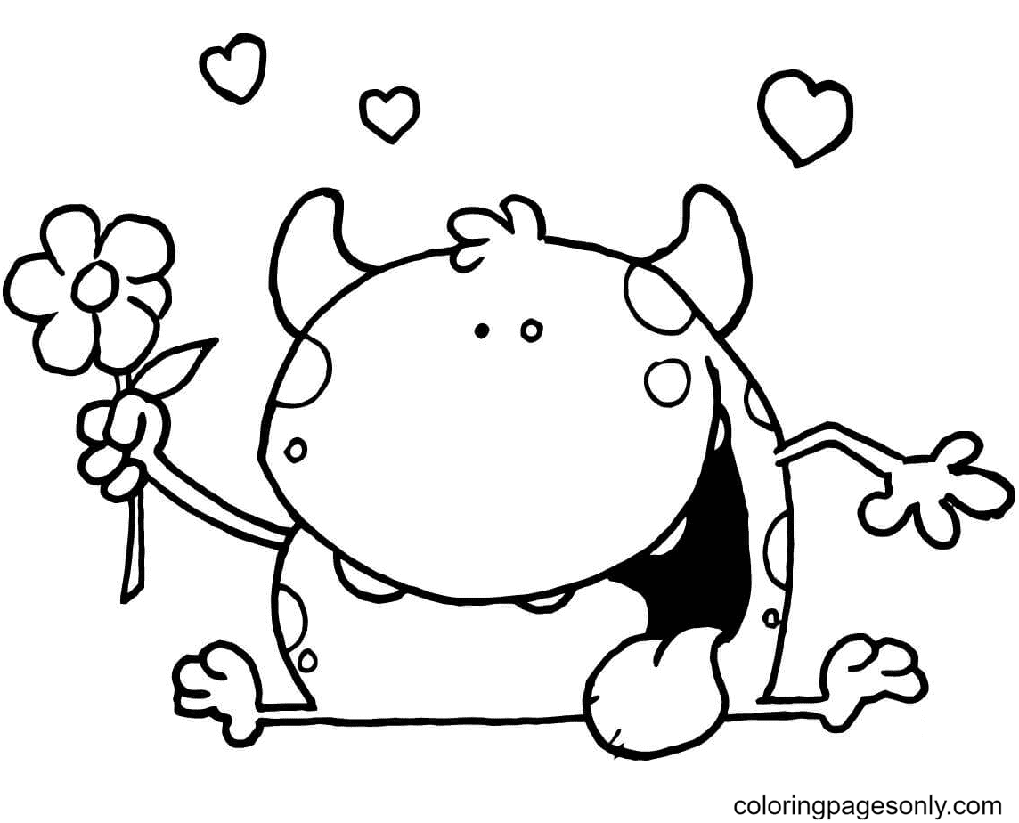 Cute Evil Monster with a Flower Coloring Page