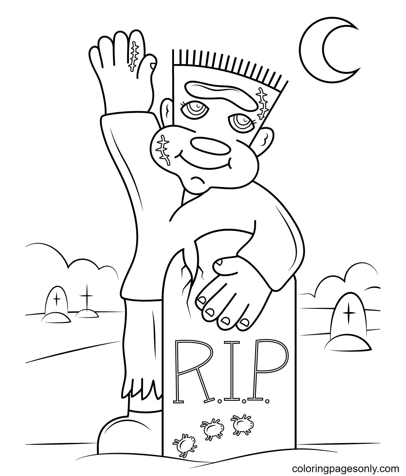 Cute Frankenstein Coloring Page