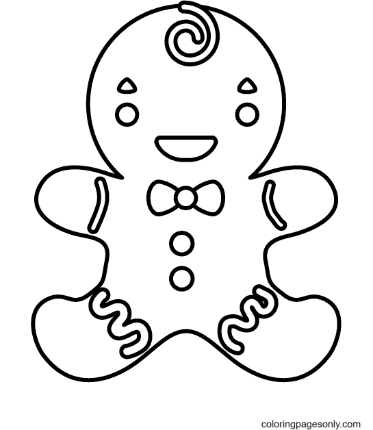 Cute Gingerbread Boy Coloring Page