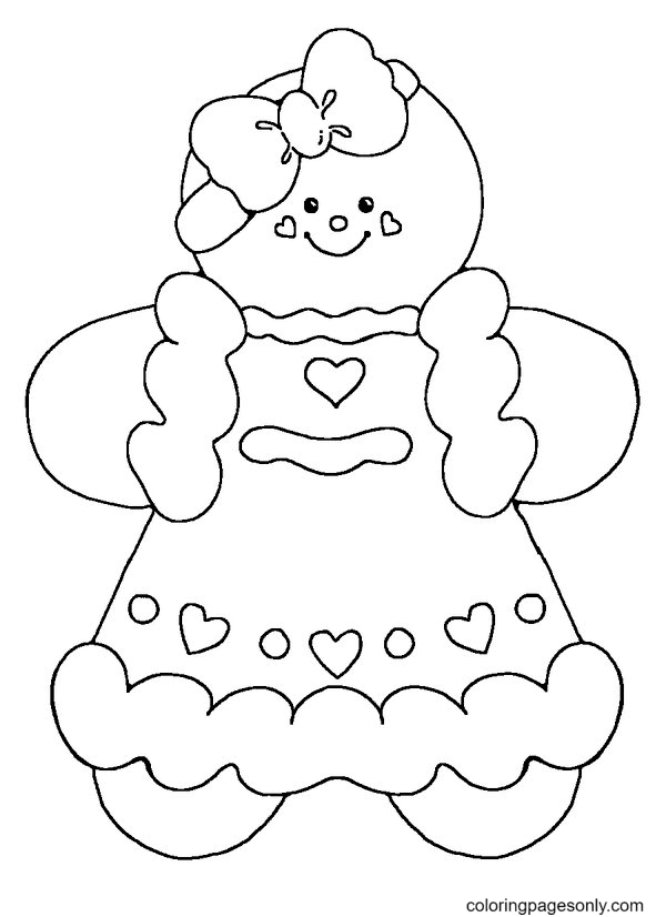 Cute Gingerbread Girl Coloring Page
