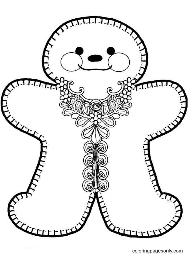 Cute Gingerbread Man Printable Coloring Page