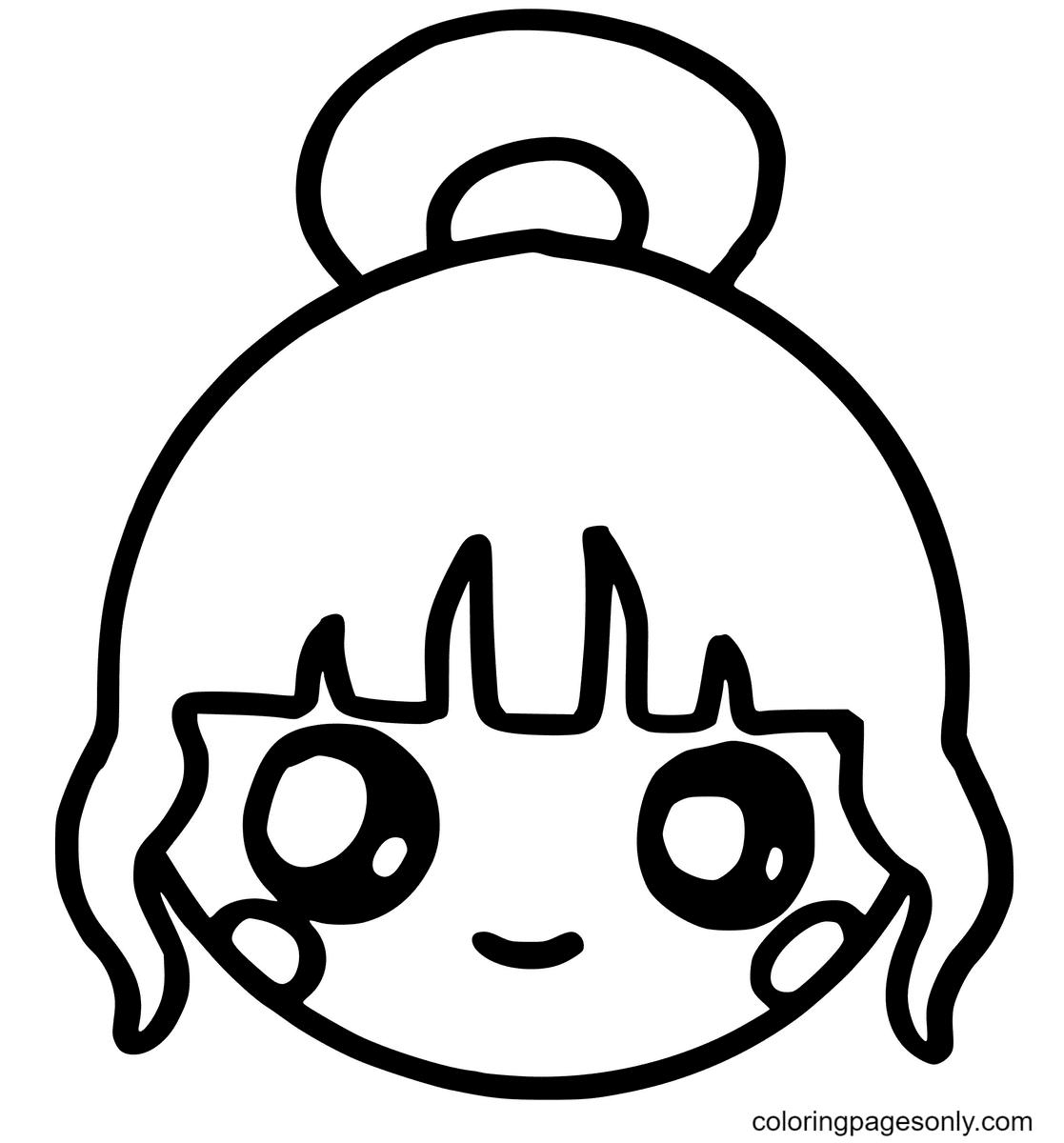 Cute Girl Kawaii Coloring Page