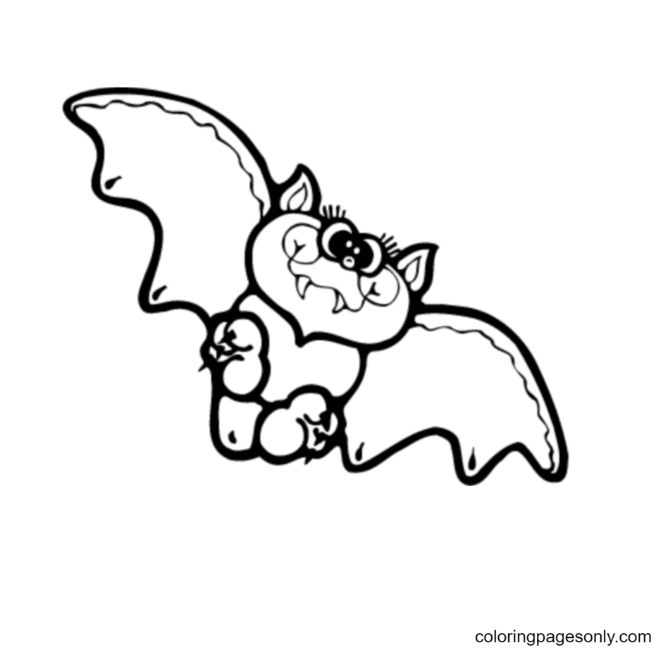 Cute Halloween Bat Coloring Page