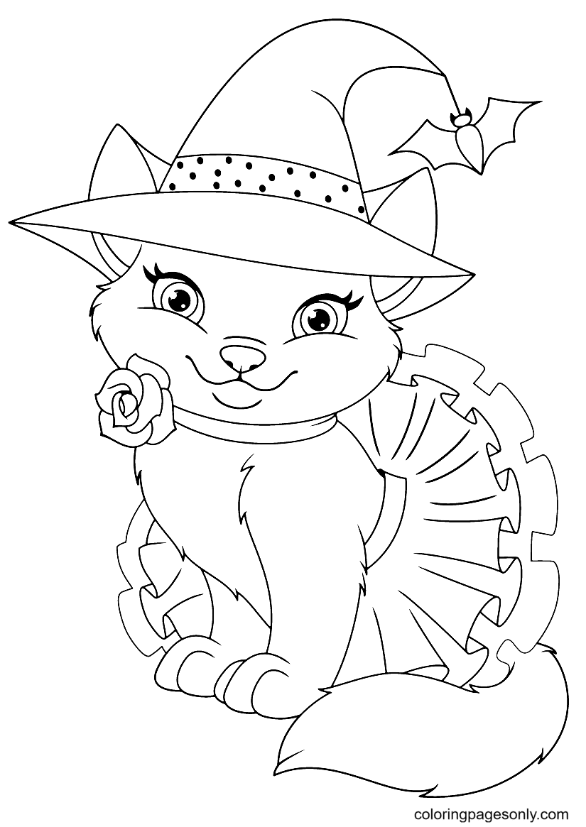 Cute Halloween Cat Coloring Page