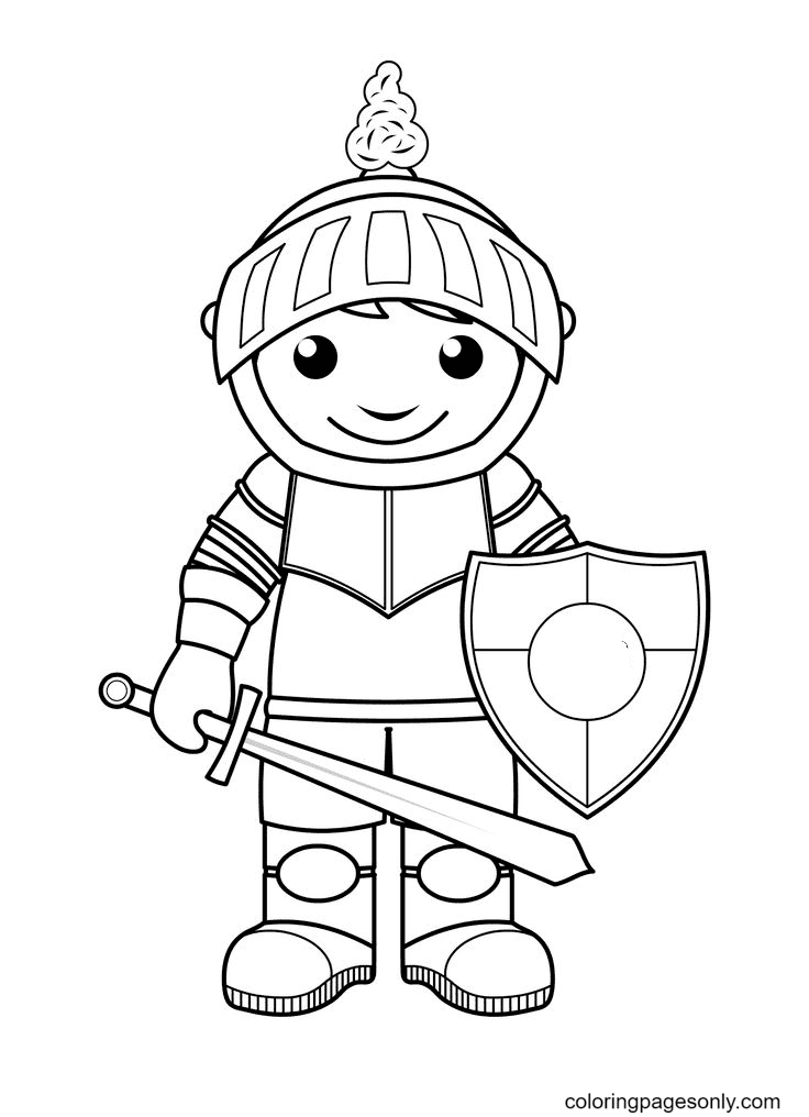 Cute Knight Coloring Page