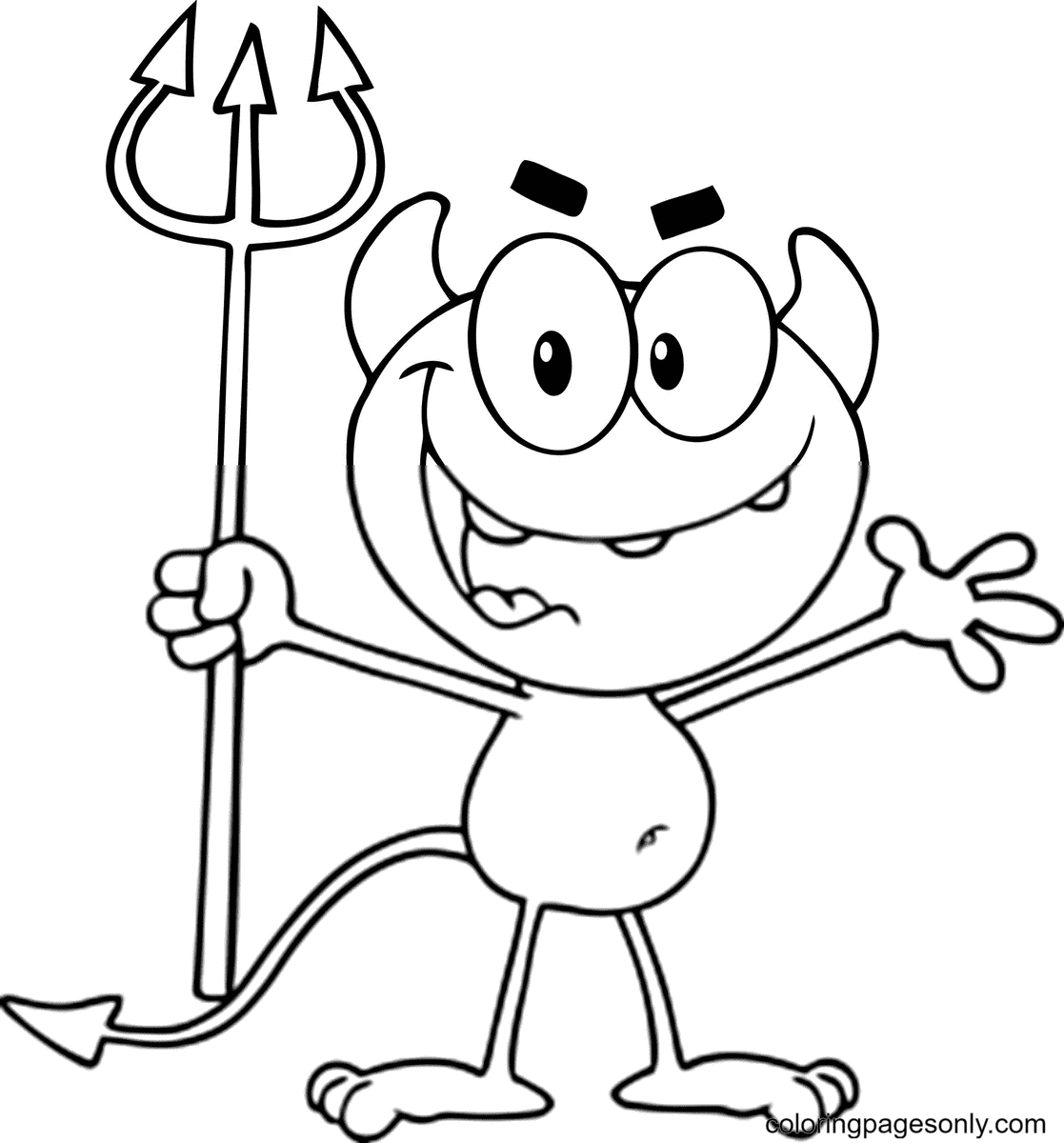 Cute Little Devil Holding up a Pitchfork Coloring Page