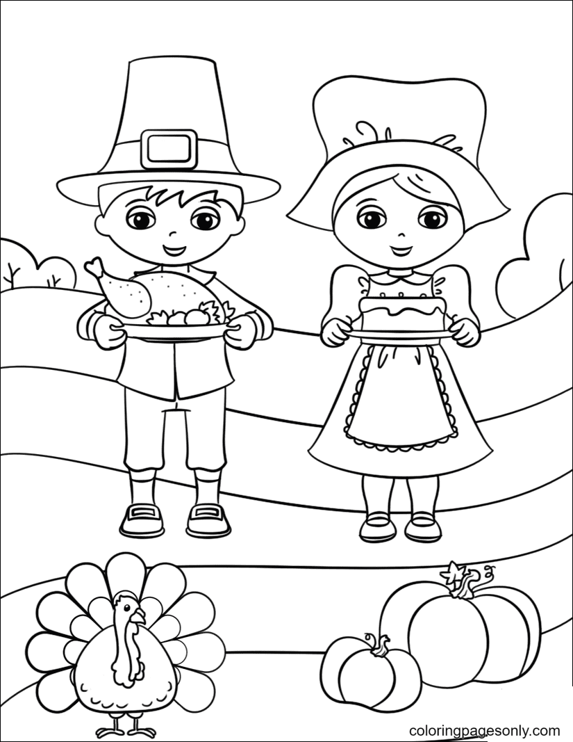 Cute Pilgrim Boy and Girl Coloring Page
