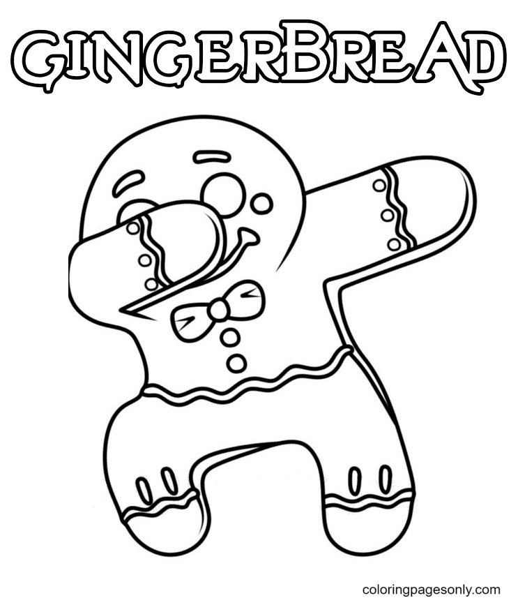 Cute Pose Gingerbread Man Coloring Page