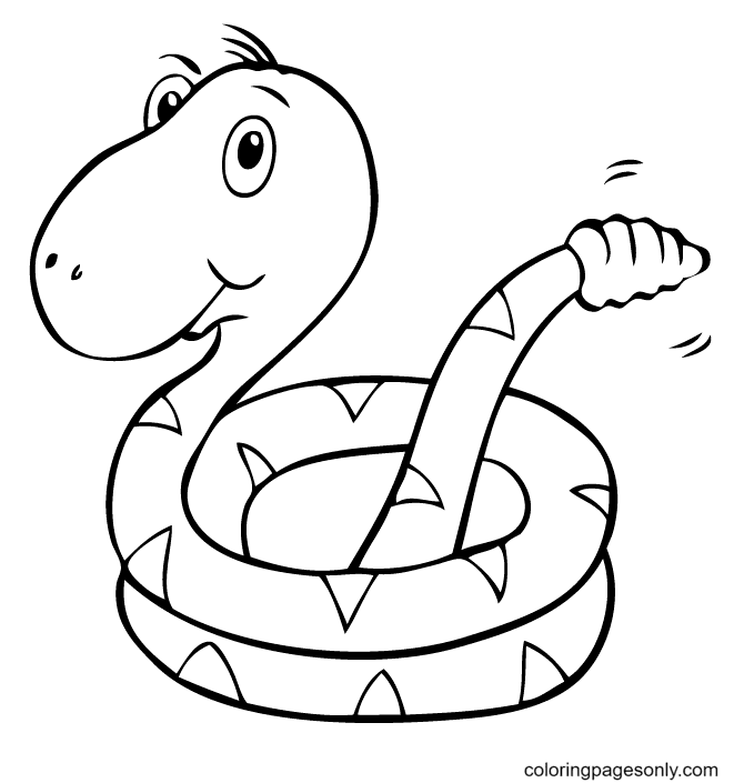 Cute Rattlesnake Coloring Page