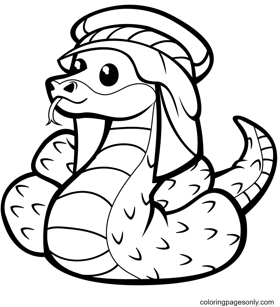 Cute Snake in Kufia Coloring Page