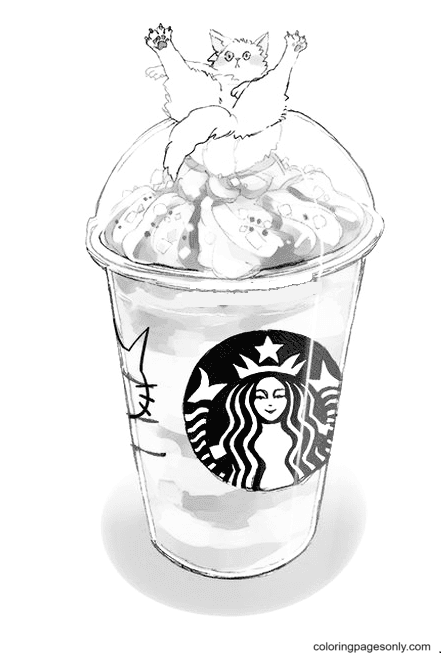 Cute Starbucks Coloring Page