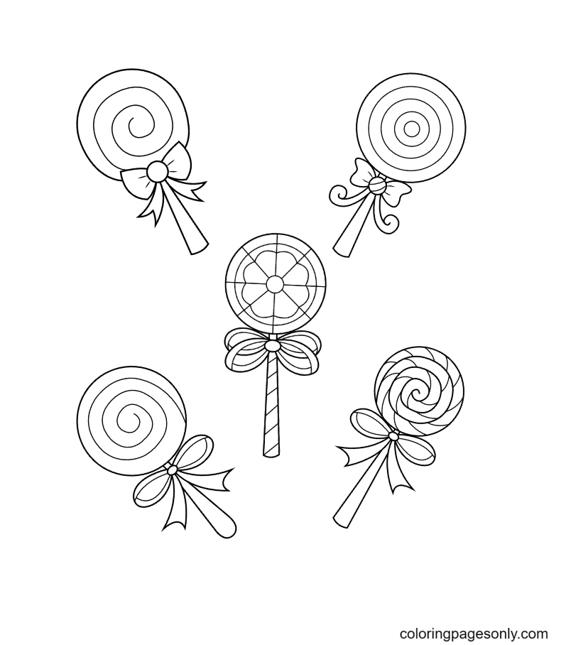 Cute Swirly Lollipops Coloring Page
