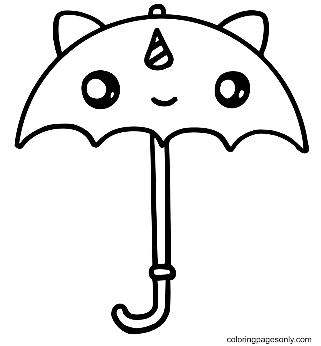 Cute Unicorn Umbrella Kawaii Coloring Page