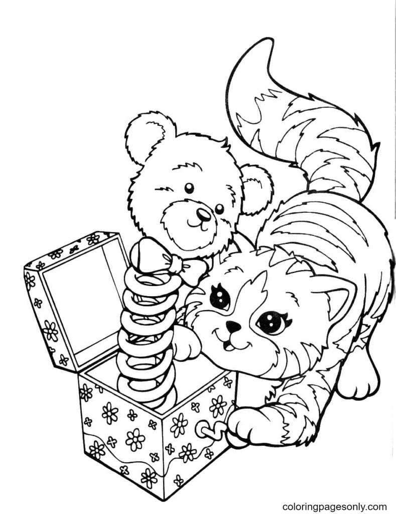 Cute cat playing Coloring Page