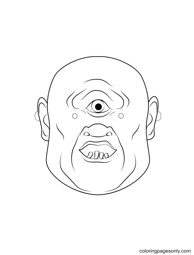 Cyclops Mask Coloring Page