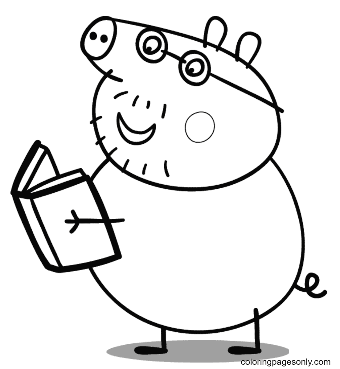 Daddy Pig Reads a Book Coloring Page