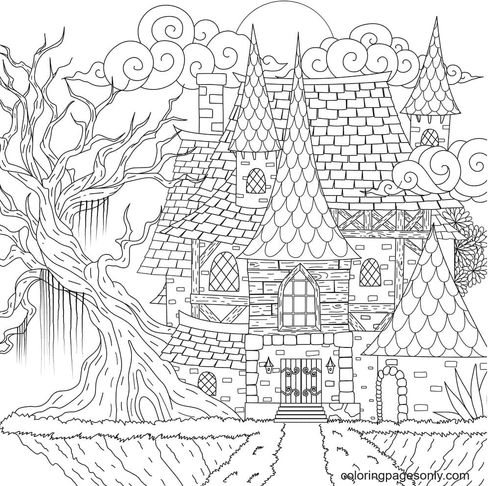Dark Haunted House Coloring Page