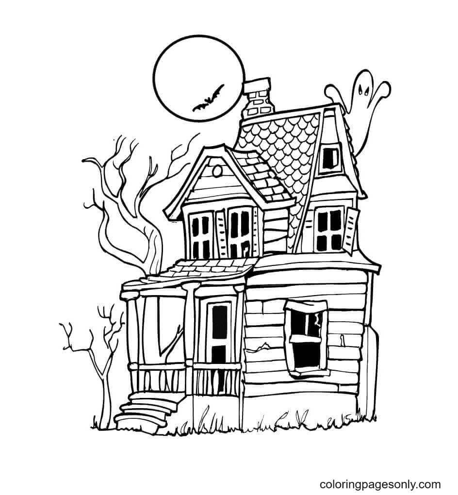 Dark Night at the Haunted House Coloring Page