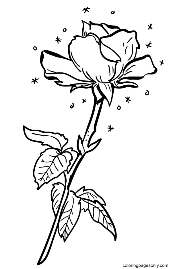 Delicate Rose Coloring Page