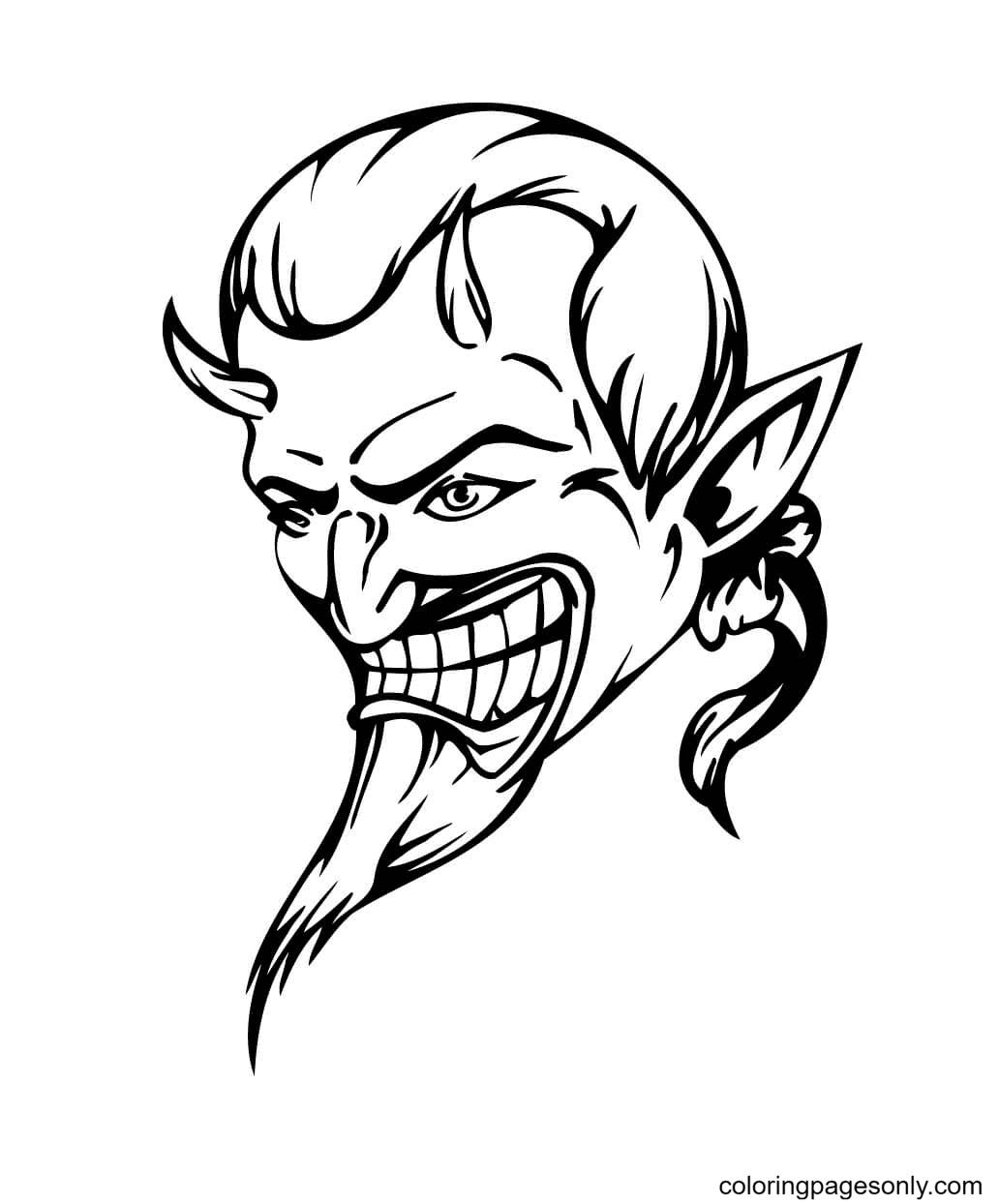 Devil Head Coloring Page