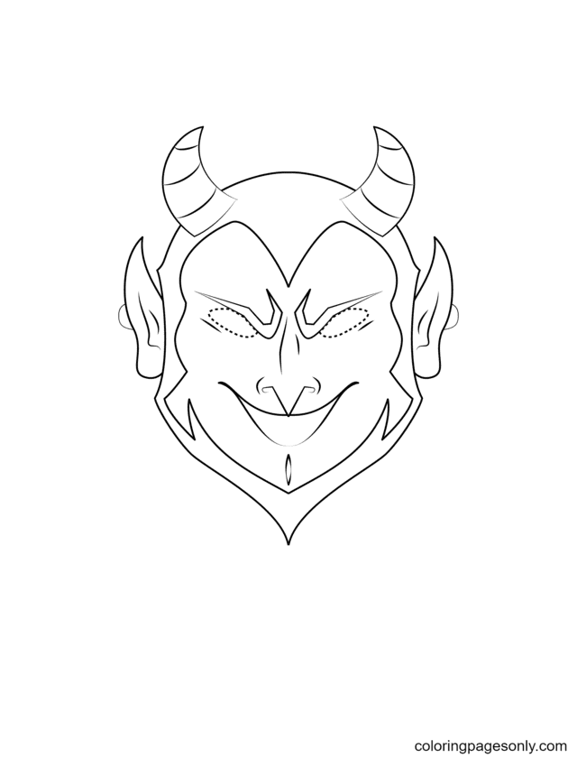 Devil Mask Coloring Page
