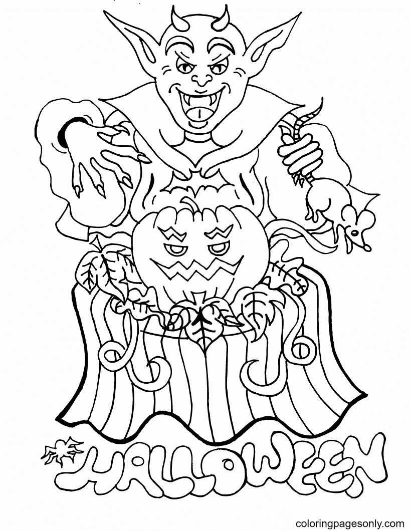 Devil Monster and Pumpkin lamp Coloring Page