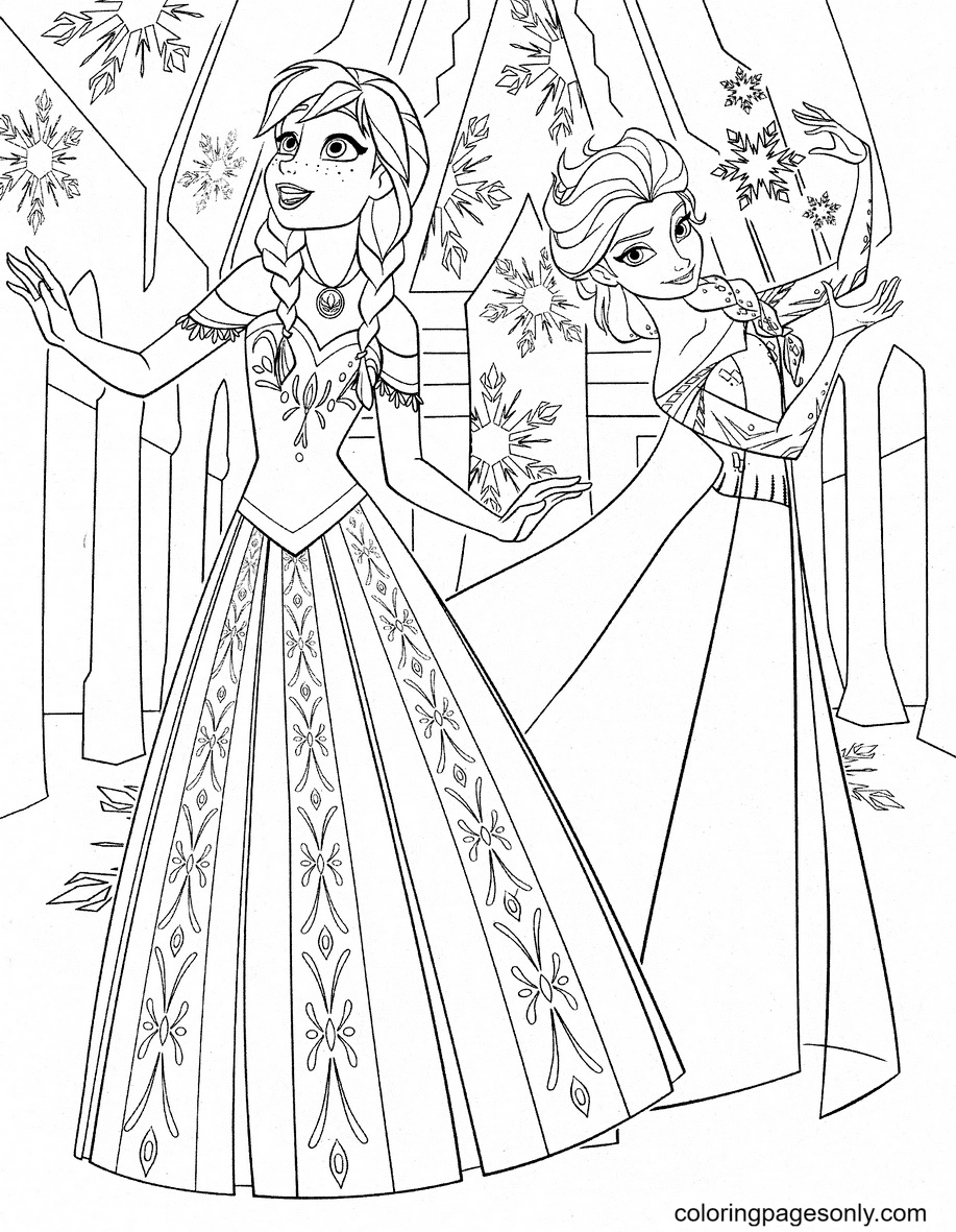 Disney Frozen Anna and Elsa Coloring Page