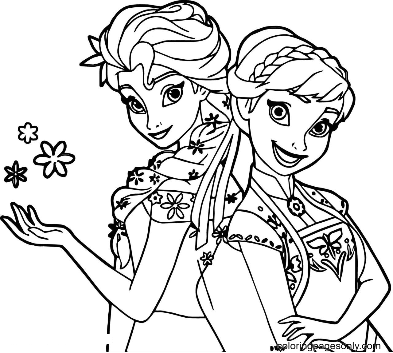 Disney Frozen Elsa And Anna Coloring Page