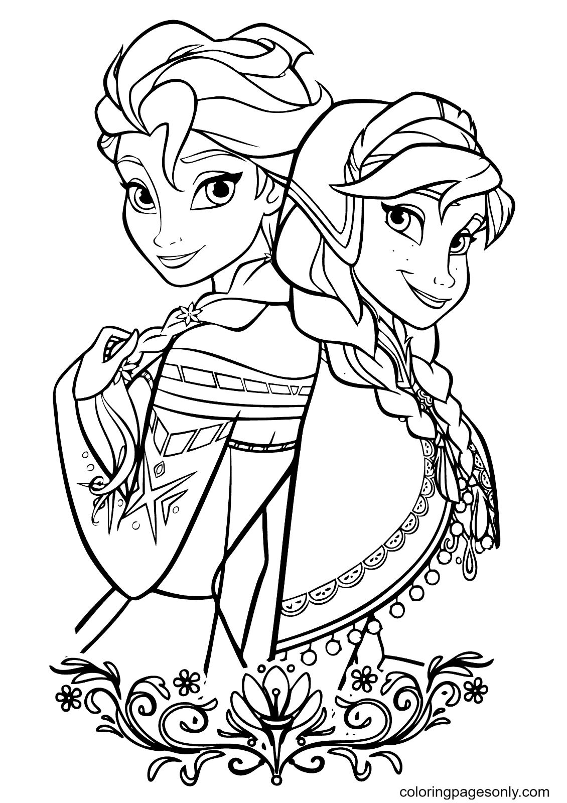 Disney Frozen Elsa, Anna Coloring Page
