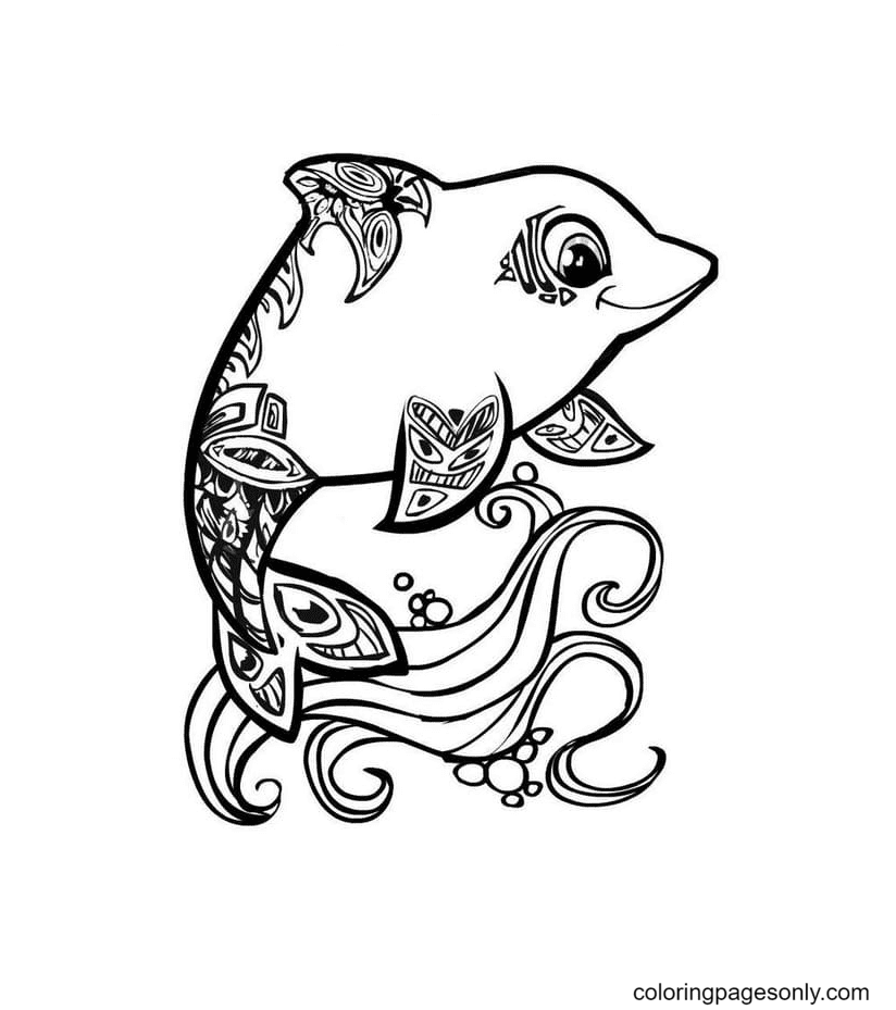 Dolphin kawaii Coloring Page