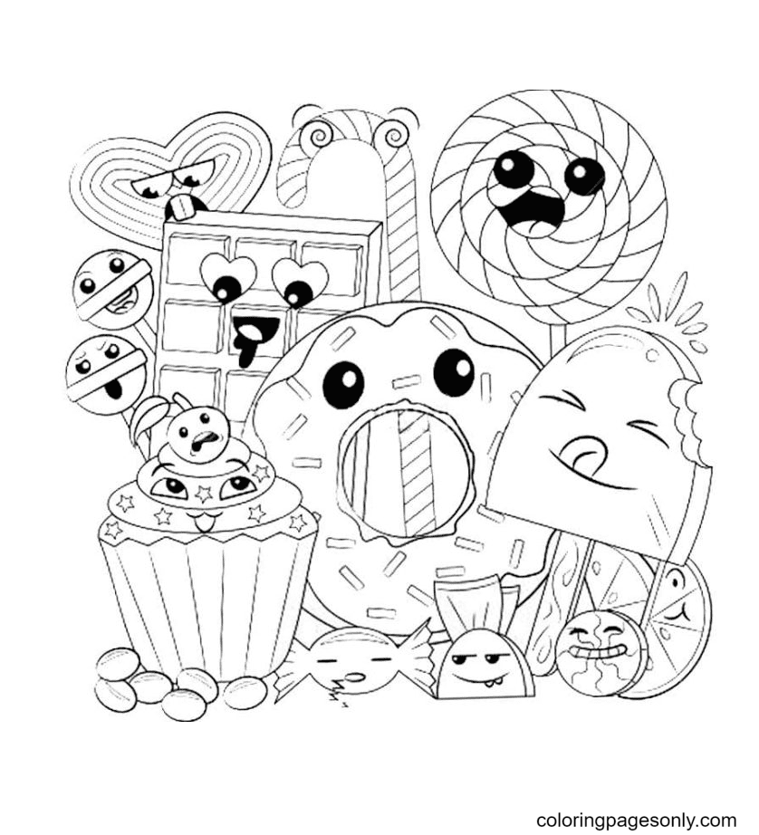 Donuts, candies, sweets, chocolate Kawaii Coloring Page