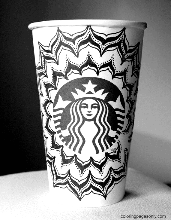 Doodle Starbucks Cup Coloring Page