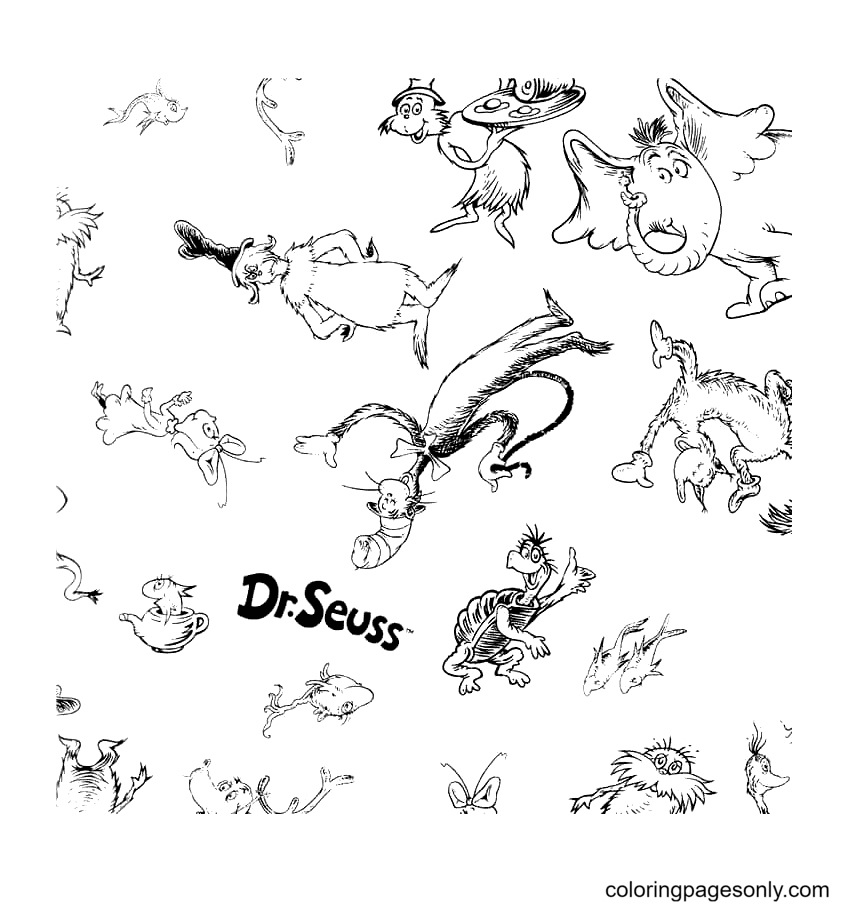 Dr. Seuss Characters Coloring Page