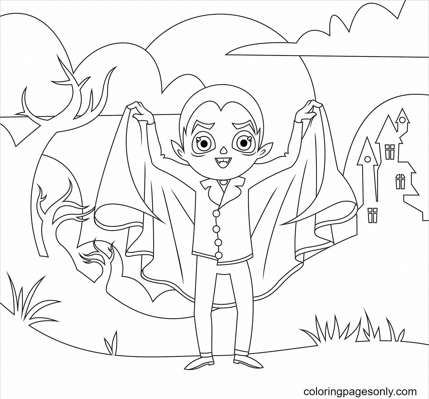 Dracula Halloween Coloring Page